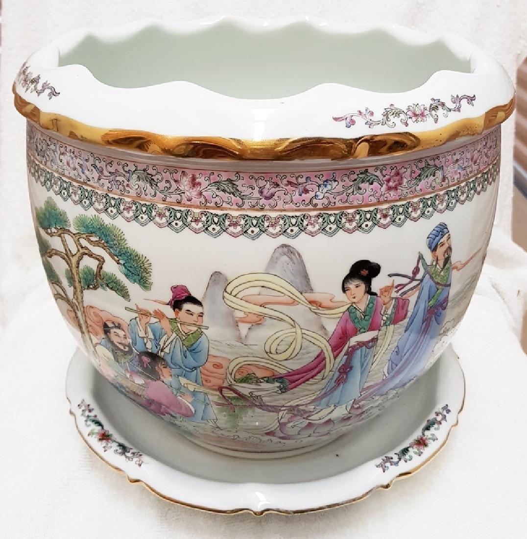 2 Pcs hand painted Porcelain Planter