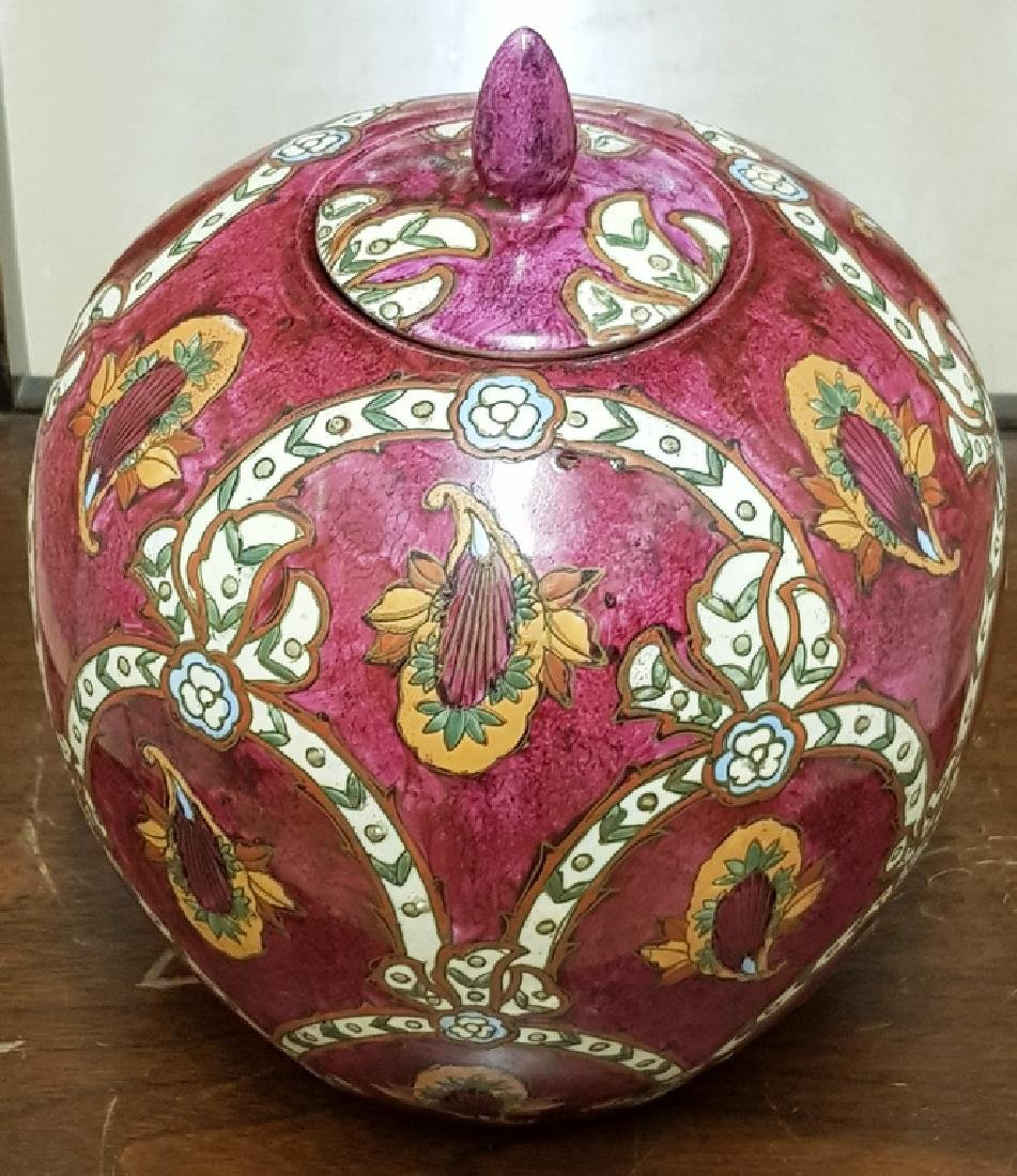 Antique Chinese Ginger jar Cranberry Color