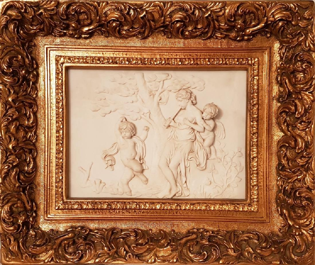 3D High Cameo of Lady with Cherubs