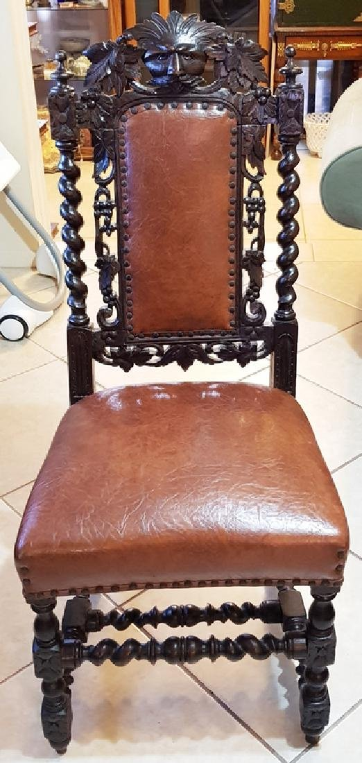 Antique Carved Wood Chair with Leather chair