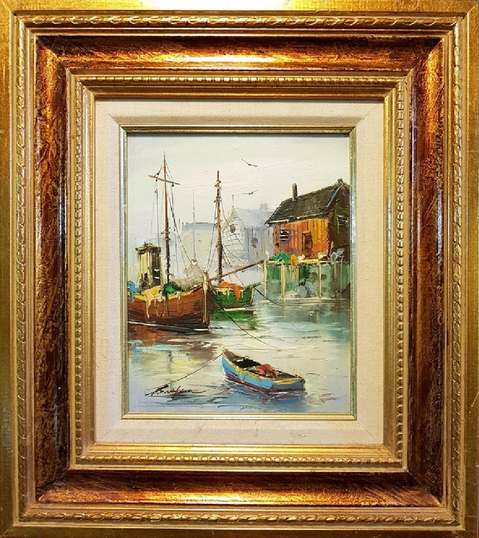 set of 3 oil on canvas nautical paintings - 3