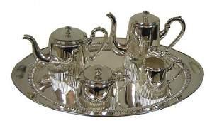 Austrian Art Deco Five Piece Silver Plate Tea Service