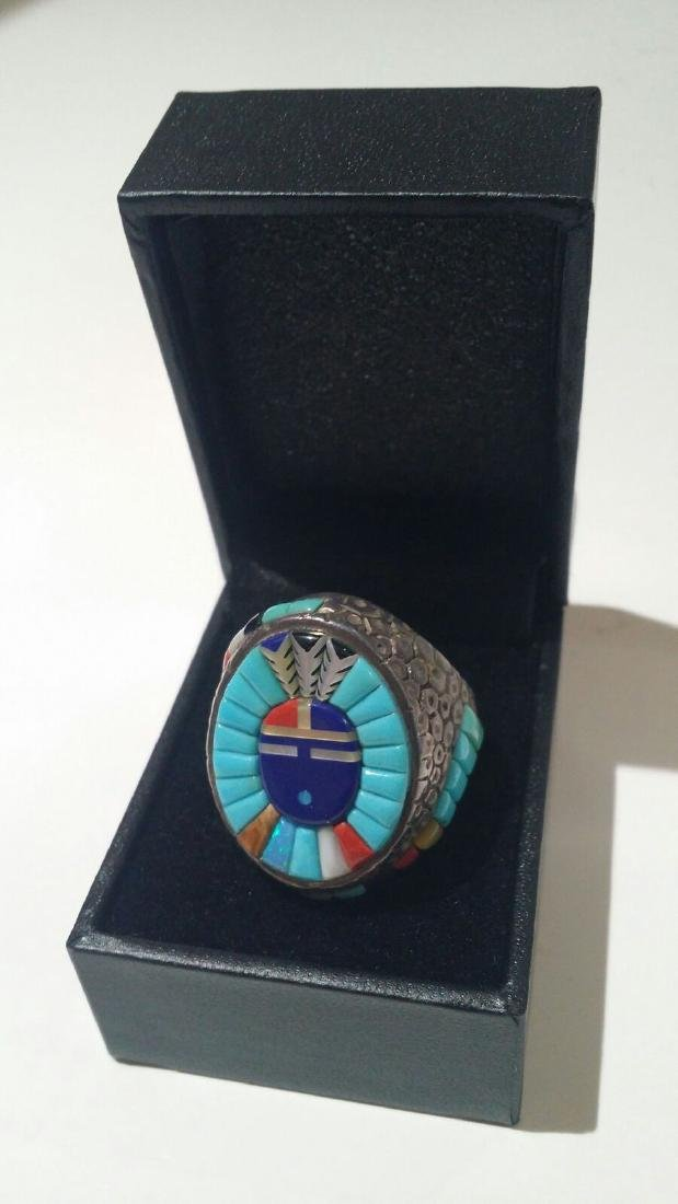 LARGE NATIVE AMERICAN ZUNI INLAID STERLING SILVER