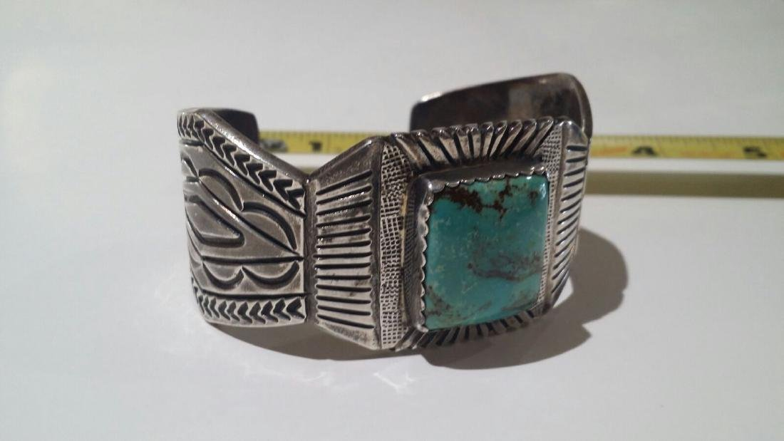 LARGE STERLING SILVER NATIVE AMERICAN SIGNED CUFF