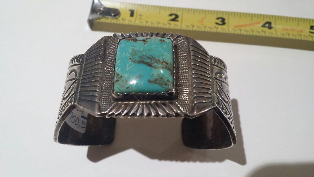 LARGE STERLING SILVER NATIVE AMERICAN SIGNED CUFF - 4