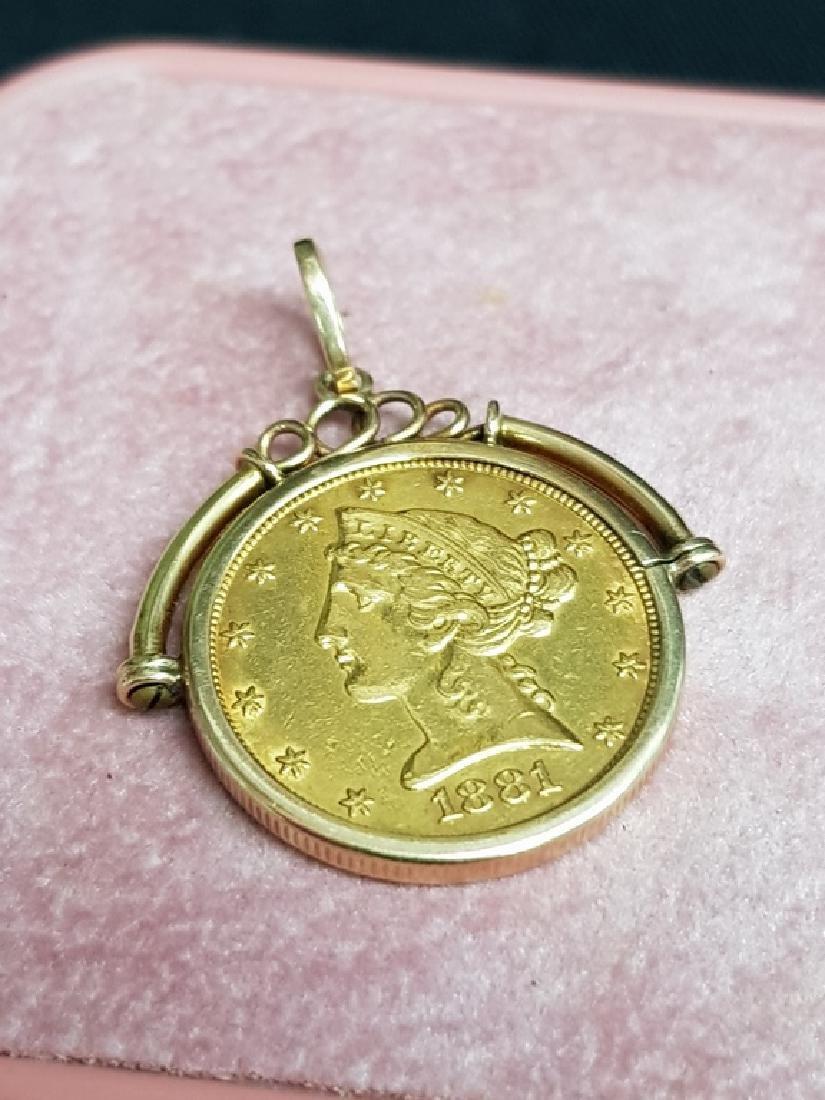 1881 USA FIVE DOLLAR GOLD COIN
