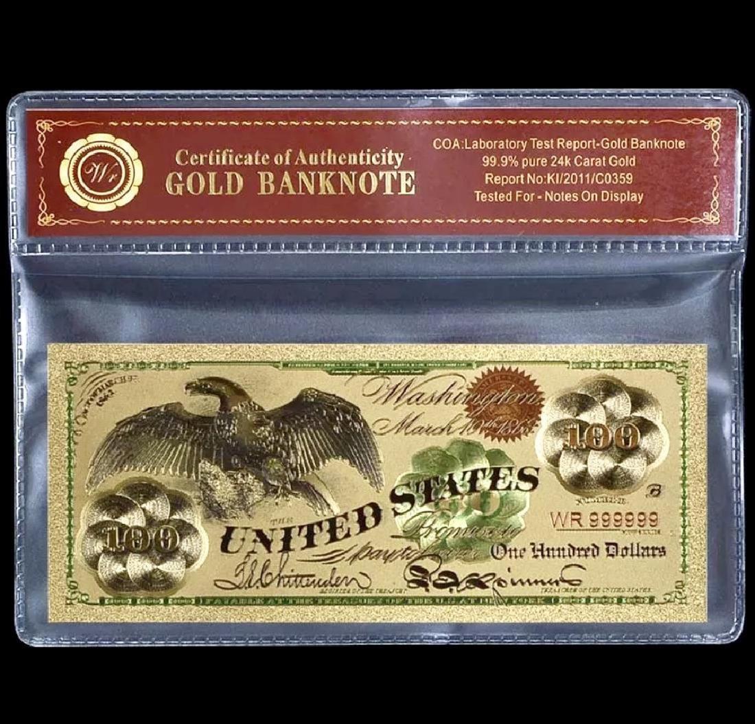 1863 Civil War 24k Gold $100 U.S. Eagle Banknote