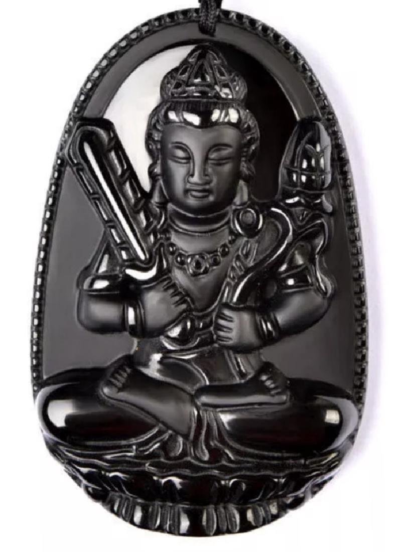 Carved Black Jade Chinese Exorcism Buddha Carving