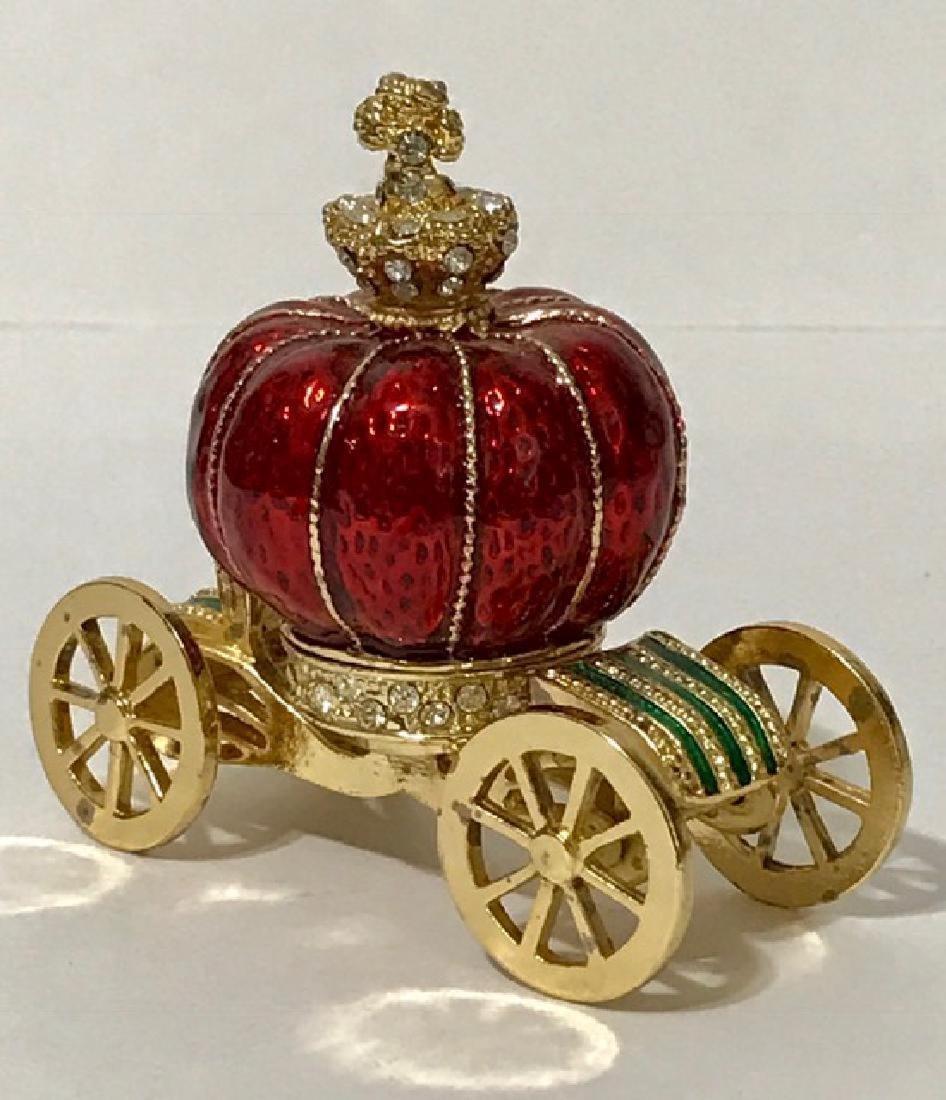 Stunning Jeweled & Enameled Carriage Trinket Box