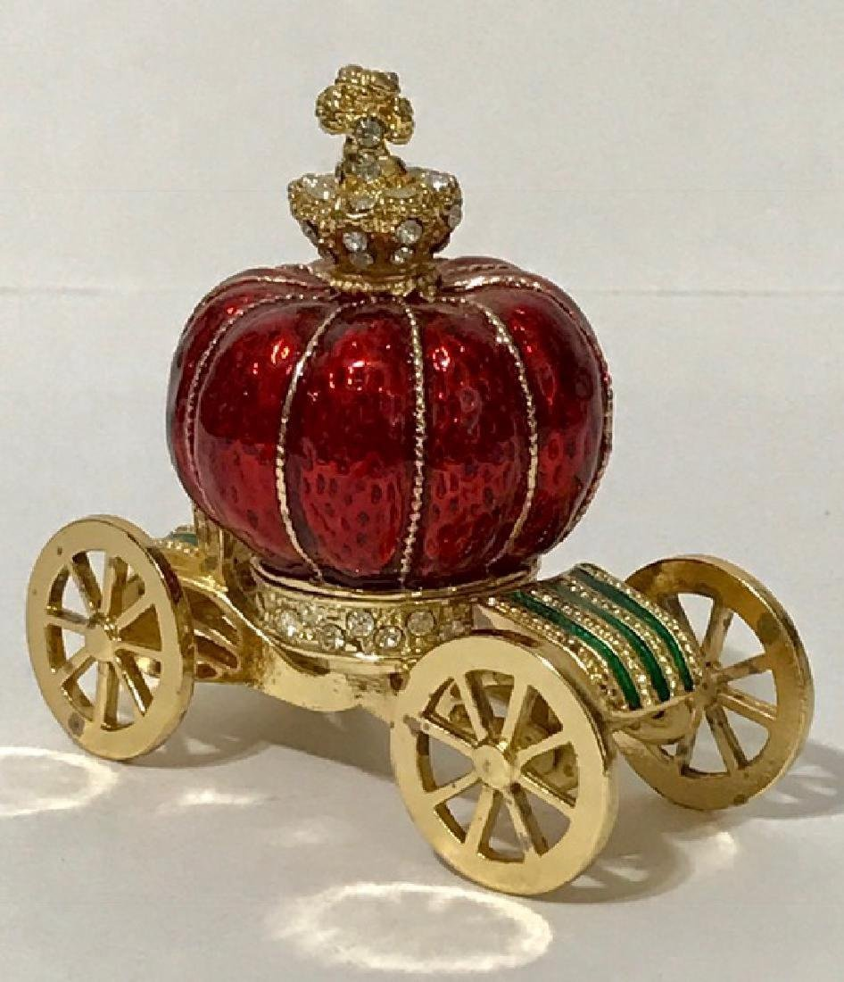 Stunning Jeweled & Enameled Carriage Trinket Box