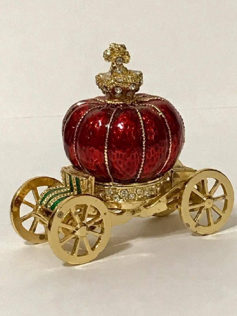 Stunning Jeweled & Enameled Carriage Trinket Box - 2