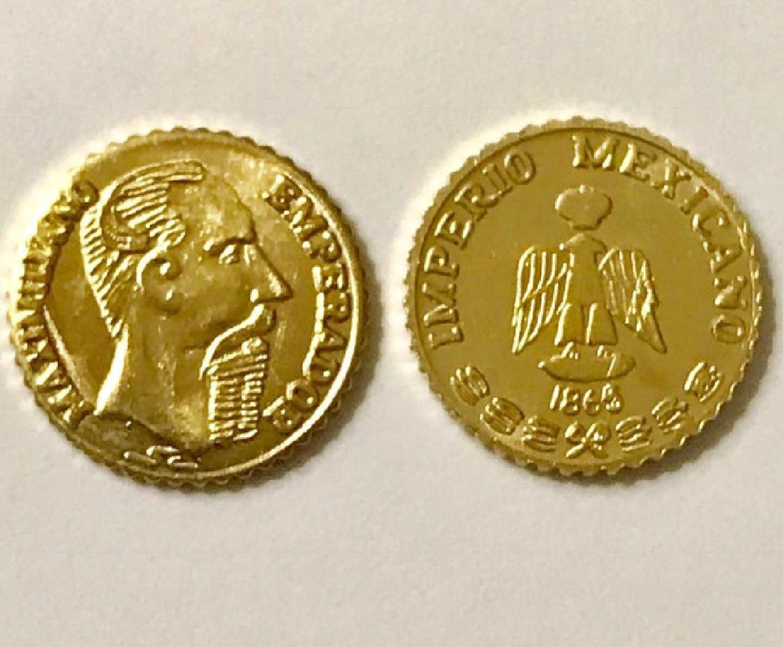 Lot of 2 1865 MAXIMILLIANO 0.5 Gram GOLD Pesos
