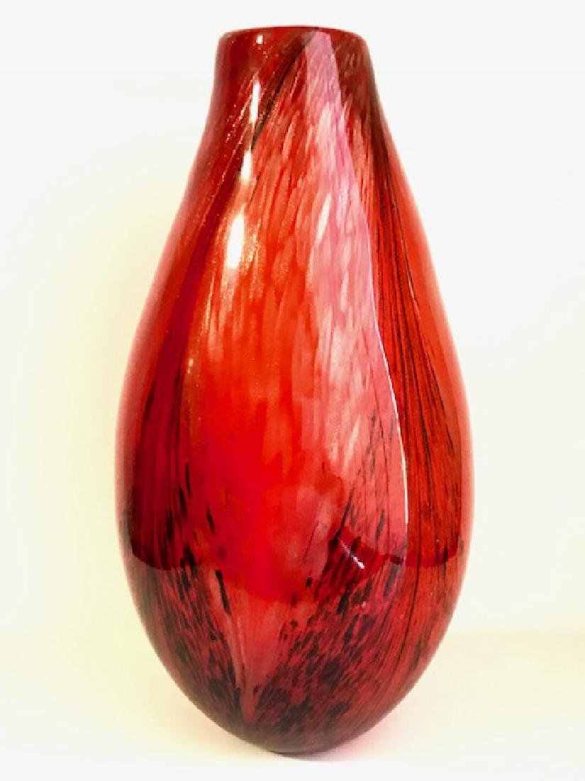 Large MURANO Italy Ruby/Gold Spun Art Glass Vase