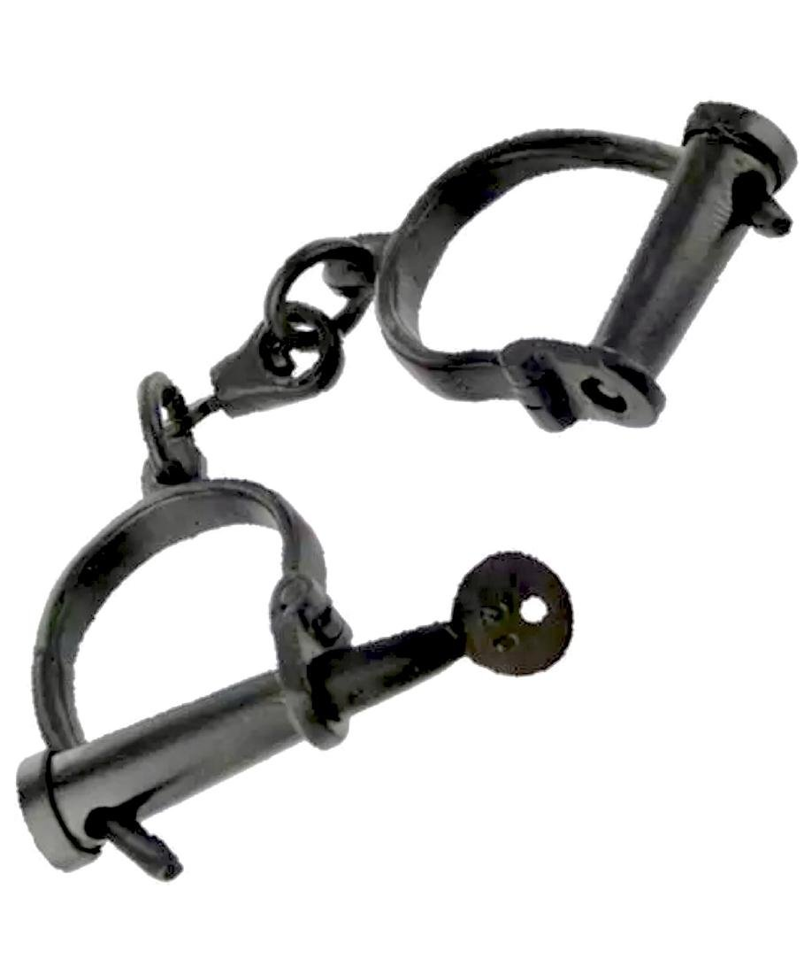 Medieval Dungeon Hand Forged Iron Shackles w/Key