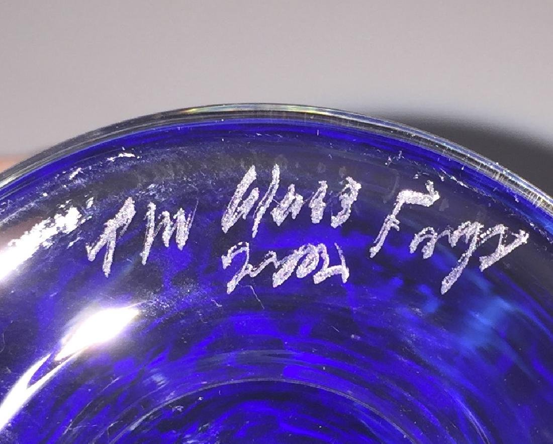 Rare Etch Signed GLASS FORGE Blown Art Glass Vase - 2