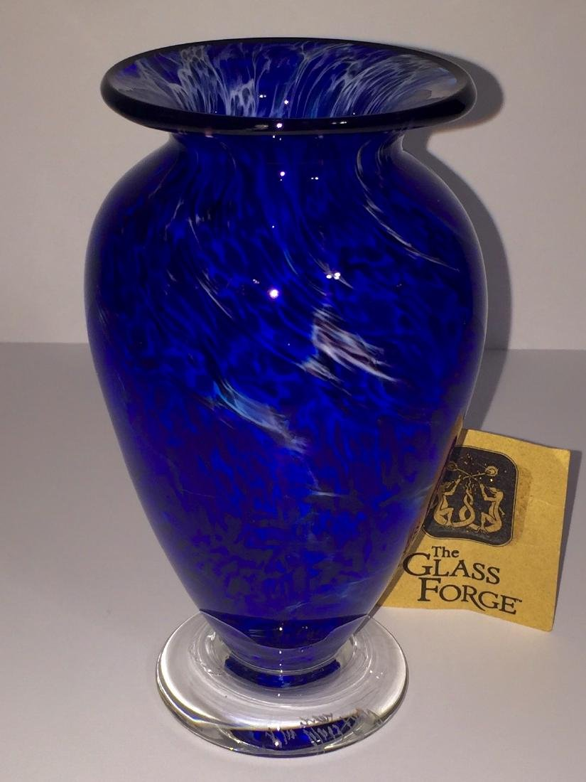 Rare Etch Signed GLASS FORGE Blown Art Glass Vase - 4