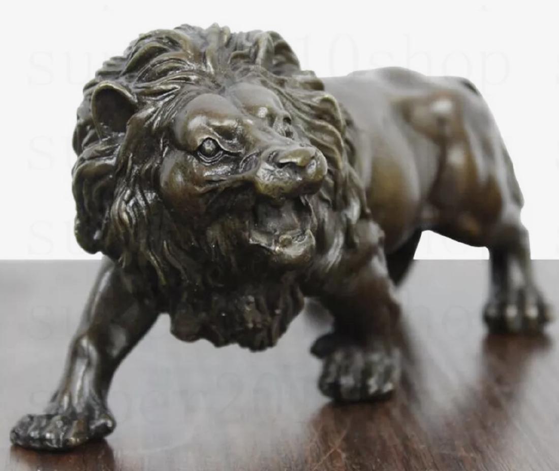 Vintage Solid Bronze Studio Made LION Sculpture - 3