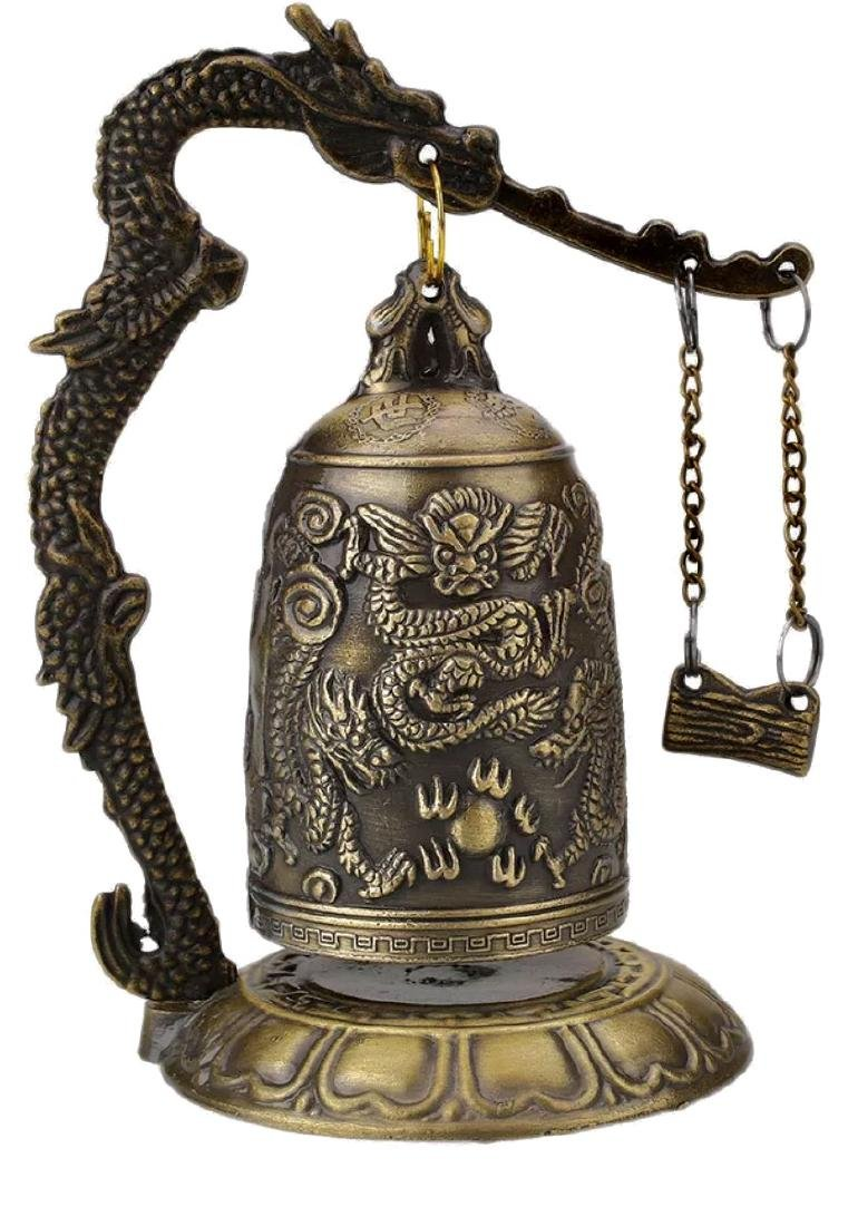 Chinese Buddhist Temple Bronze Dragon Bell - 2