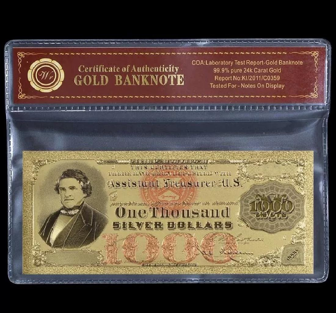 1878 - 24k Gold $1000 Silver Certificate Banknote