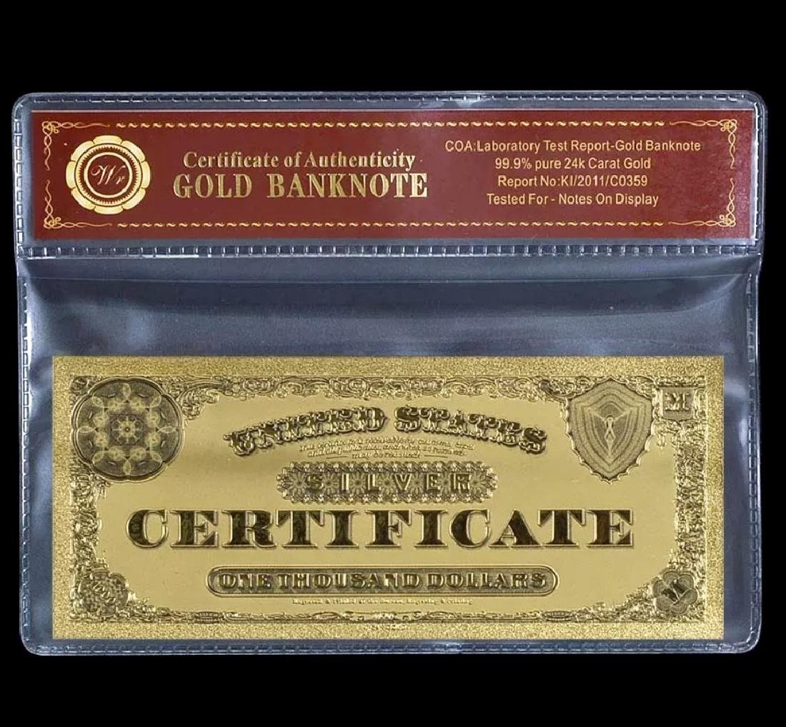 1878 - 24k Gold $1000 Silver Certificate Banknote - 2