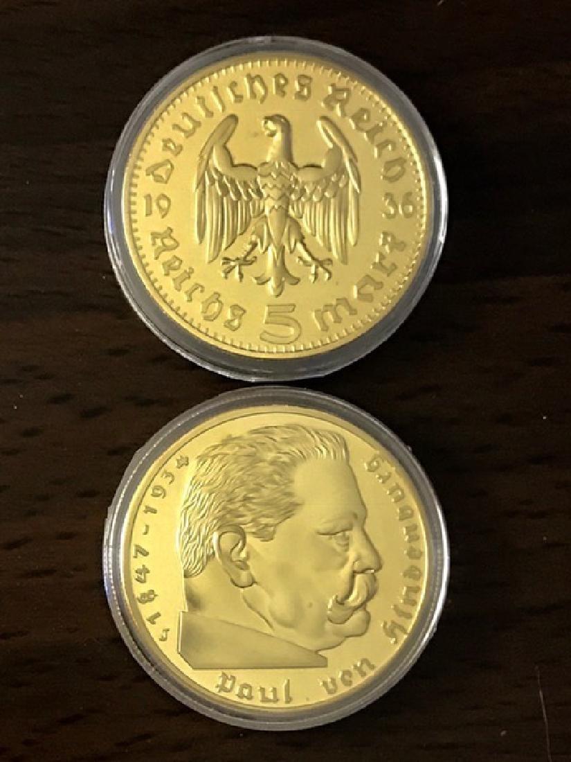 1934 Hindenburg German 1oz Gold Clad Round