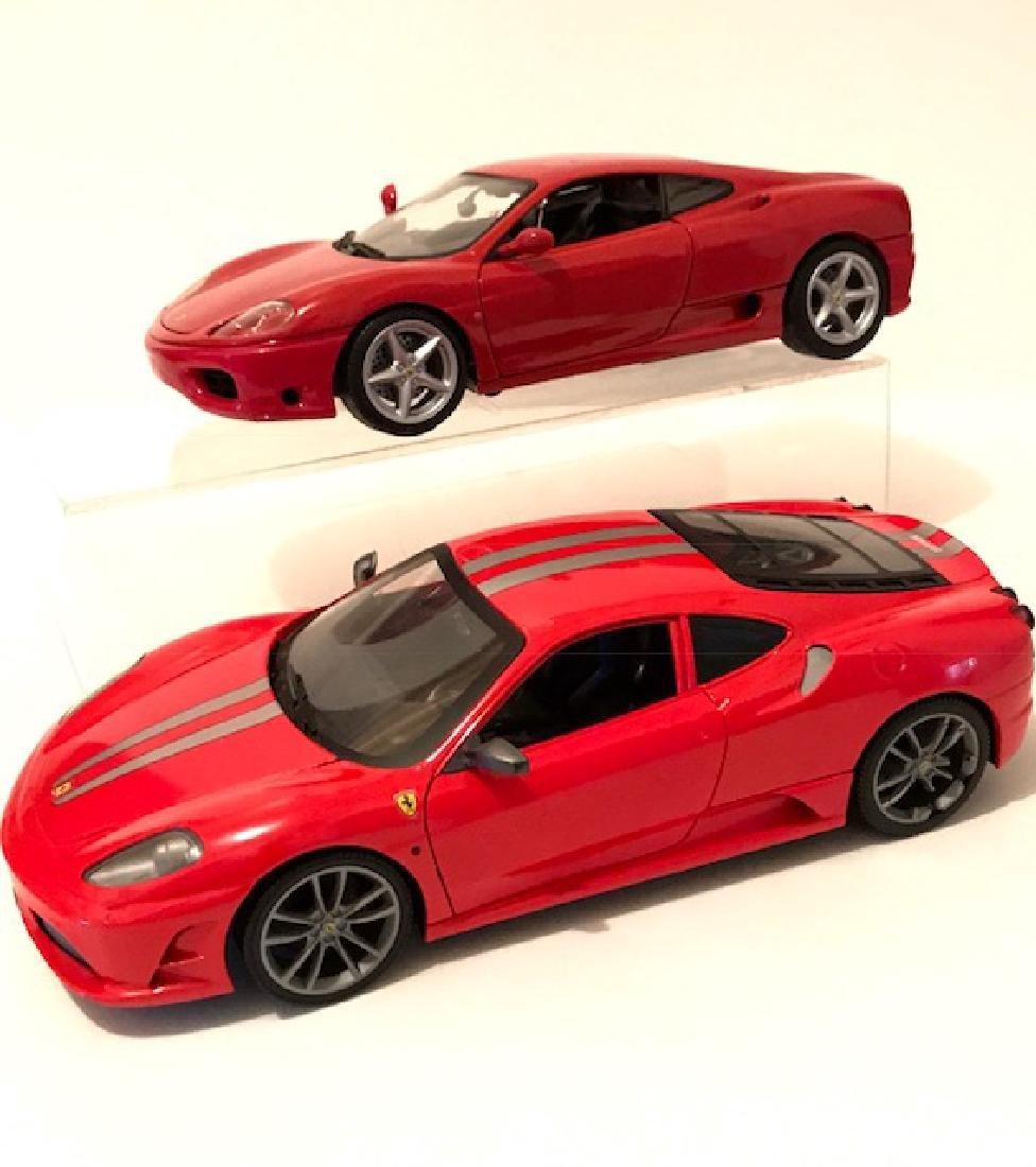 Lot of 2 LG Scale HOT WHEELS Die-Cast FERRARI Cars