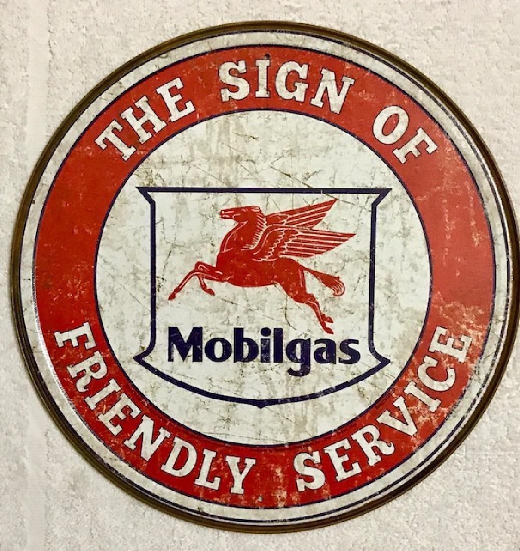 "MOBIL Gas & Oil Nostalgic Metal Sign 13"" Diameter"