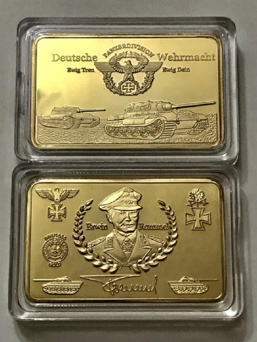 WW2 German Panzer Division .999 Gold clad Bar - 2