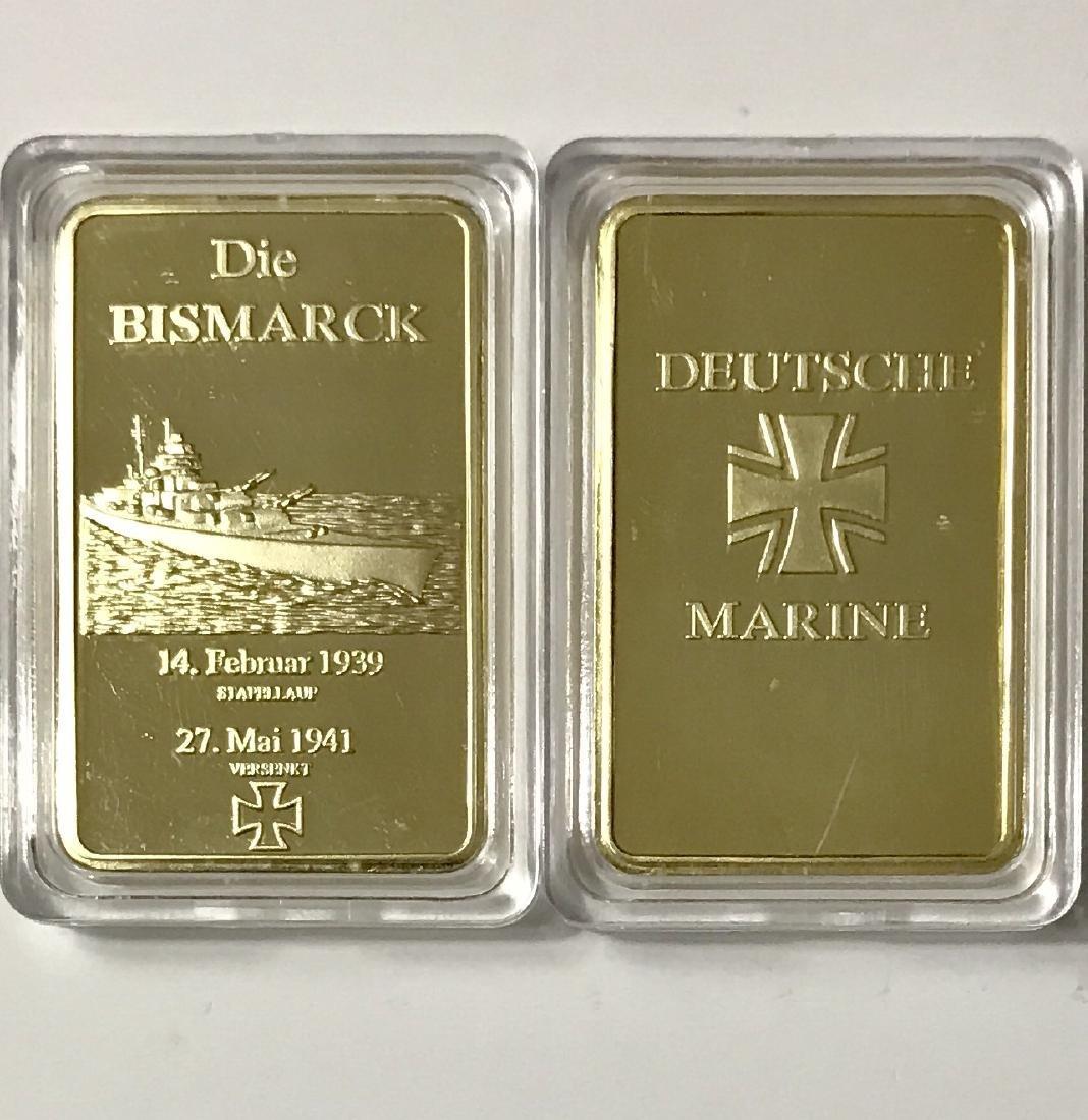 "WW2 Nazi Germany ""DIE BISMARCK"" Gold Clad Bar"