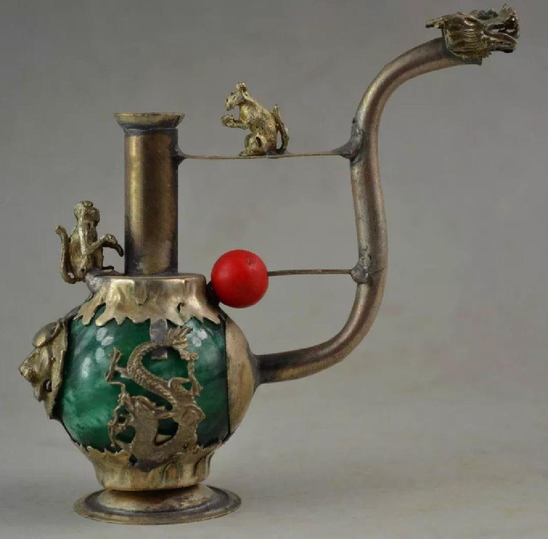 Chinese Folk Art Green Jade/Tibet Silver Opium Pipe