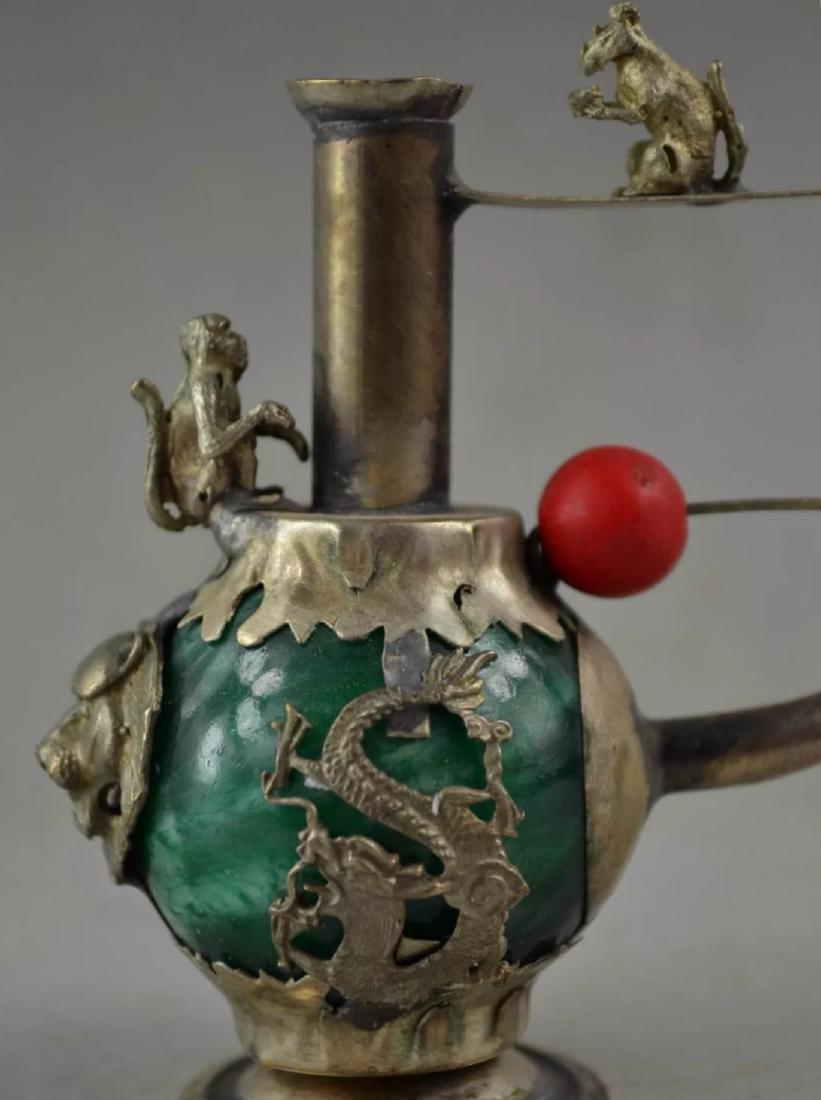 Chinese Folk Art Green Jade/Tibet Silver Opium Pipe - 3