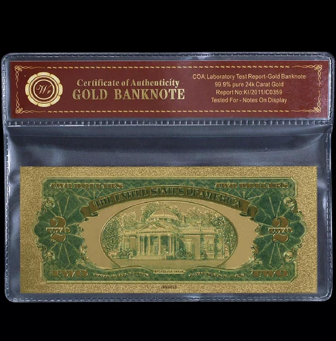 1928 Lab Tested $2 Gold Certificate Banknote - 2