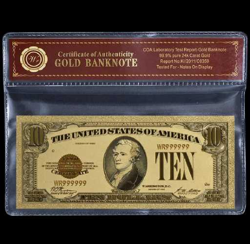 1928 Lab Tested $10 Gold Certificate Banknote