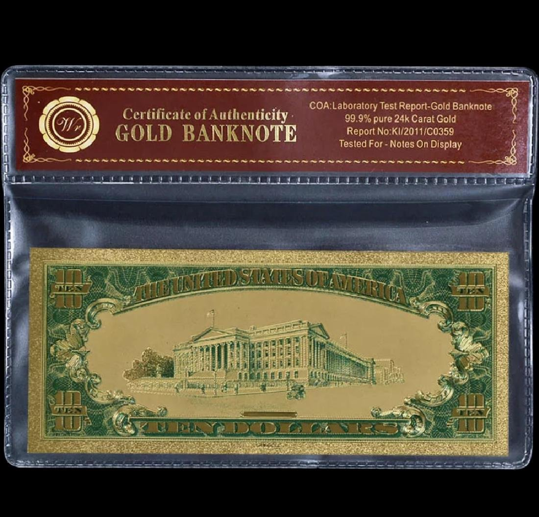1928 Lab Tested $10 Gold Certificate Banknote - 2