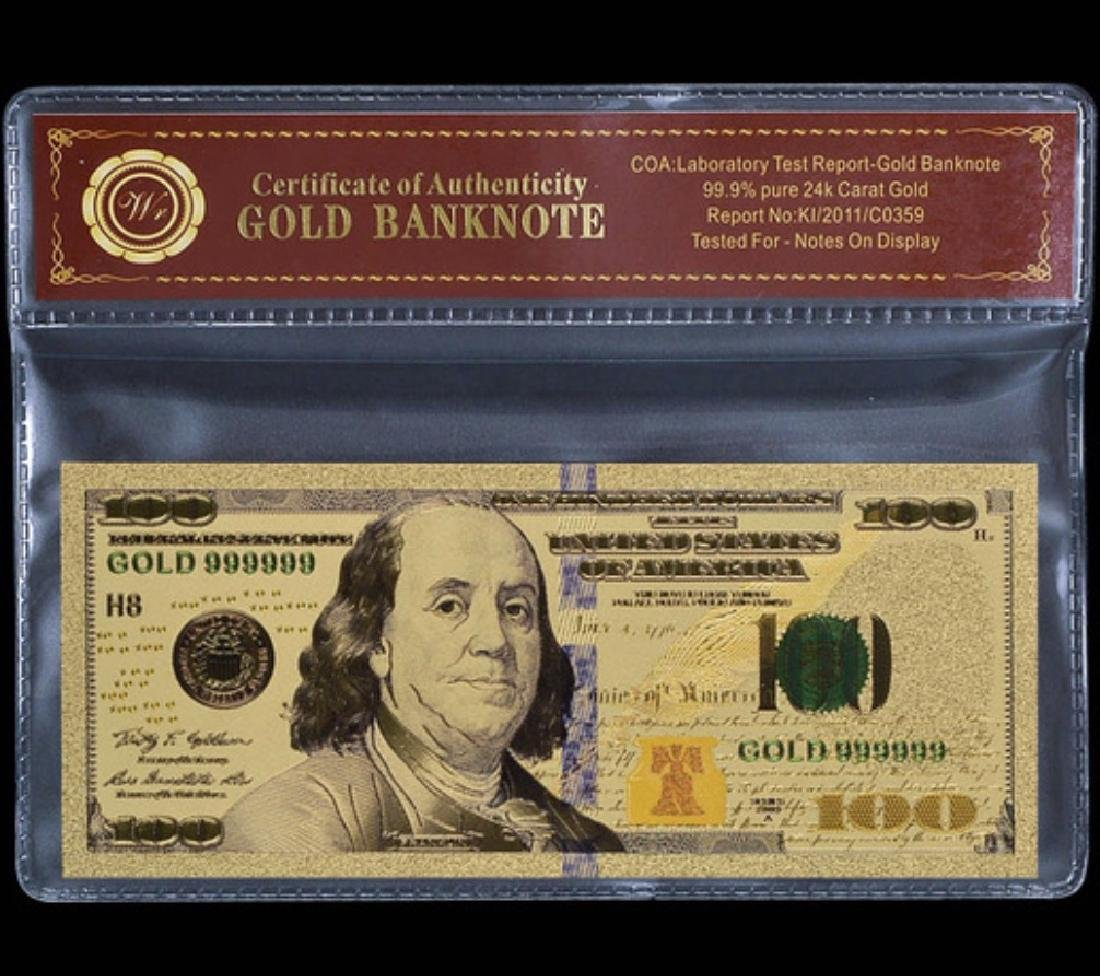 Lab Tested 24k Gold $100 Gold U.S. Banknote