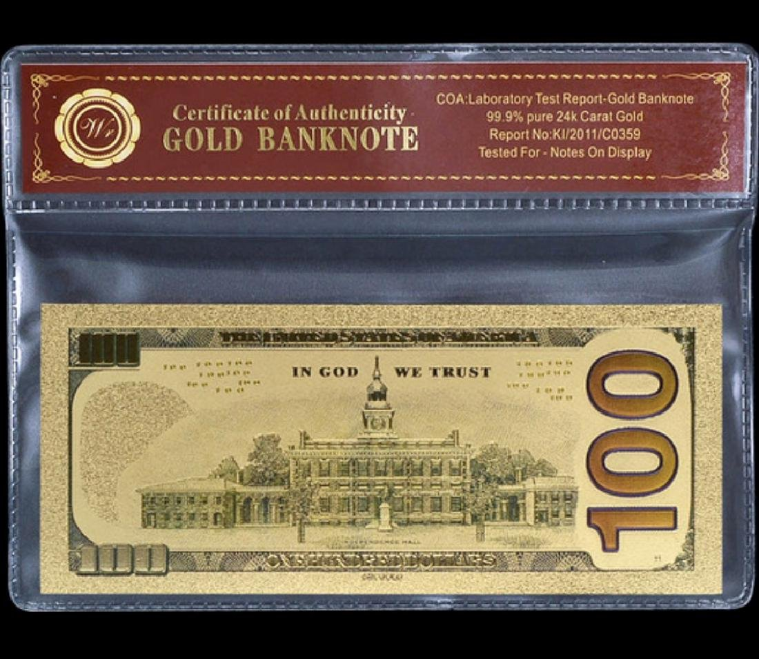 Lab Tested 24k Gold $100 Gold U.S. Banknote - 2