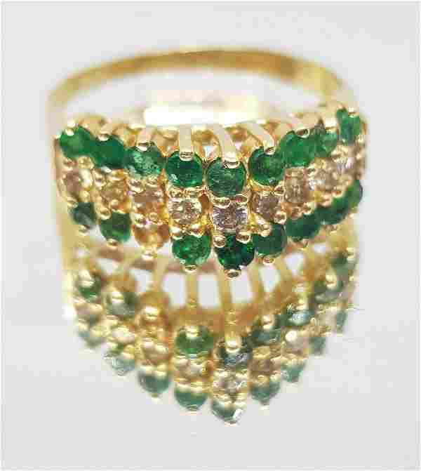 VINTAGE EMERALD DIAMOND GOLD RING