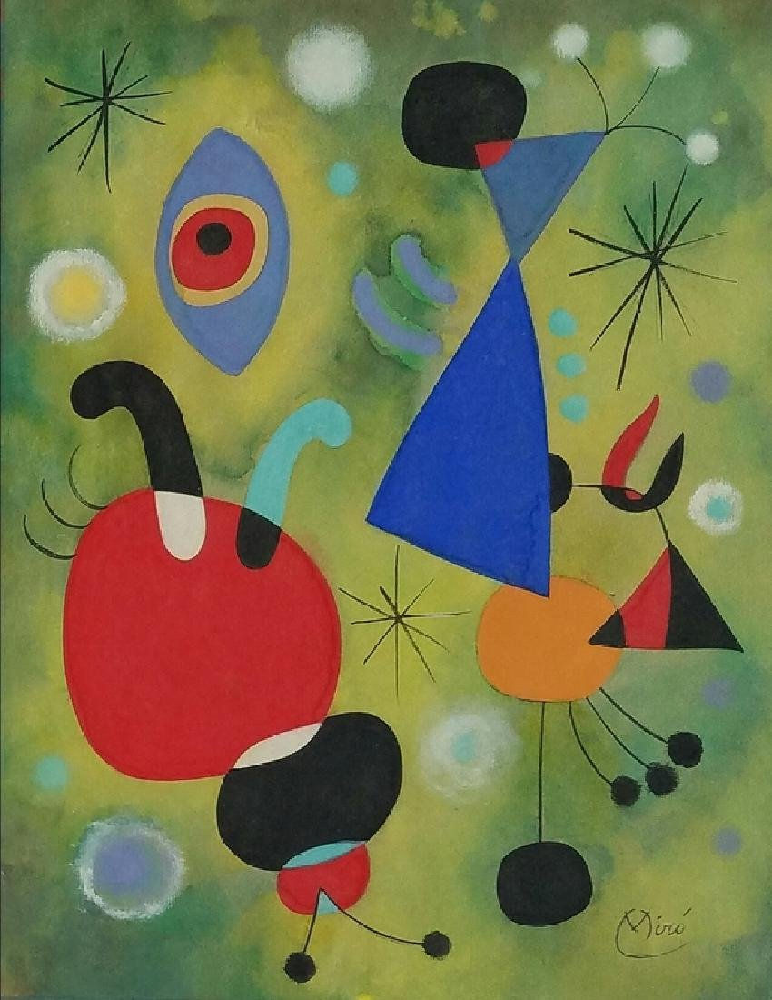 WATERCOLOR ON PAPER Signed Miro