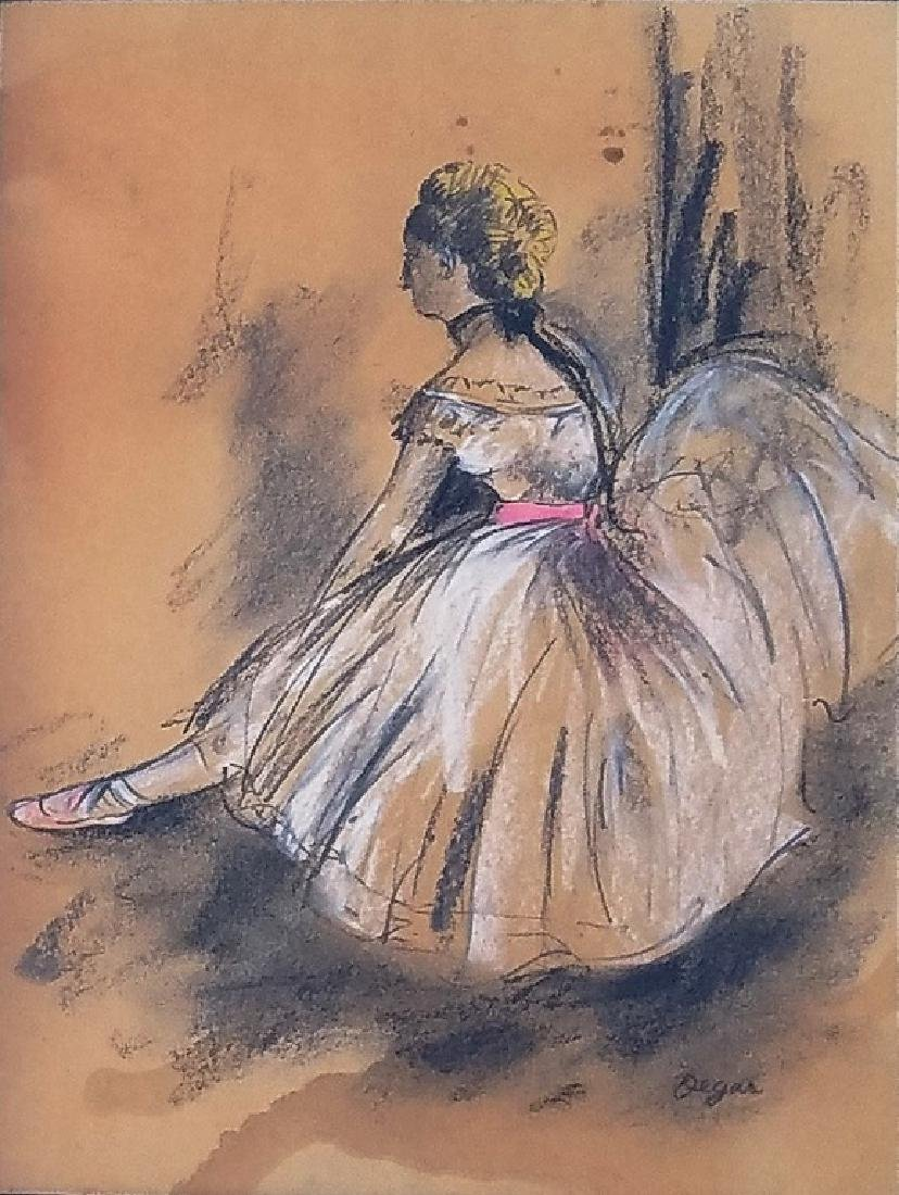 COLOR PASTEL ON PAPER Signed Degas - 2