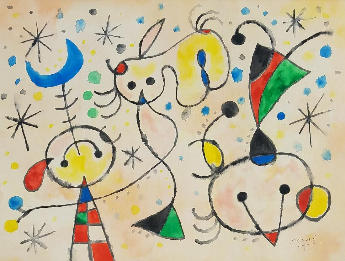 GOUACHE ON PAPER SIGNED MIRO