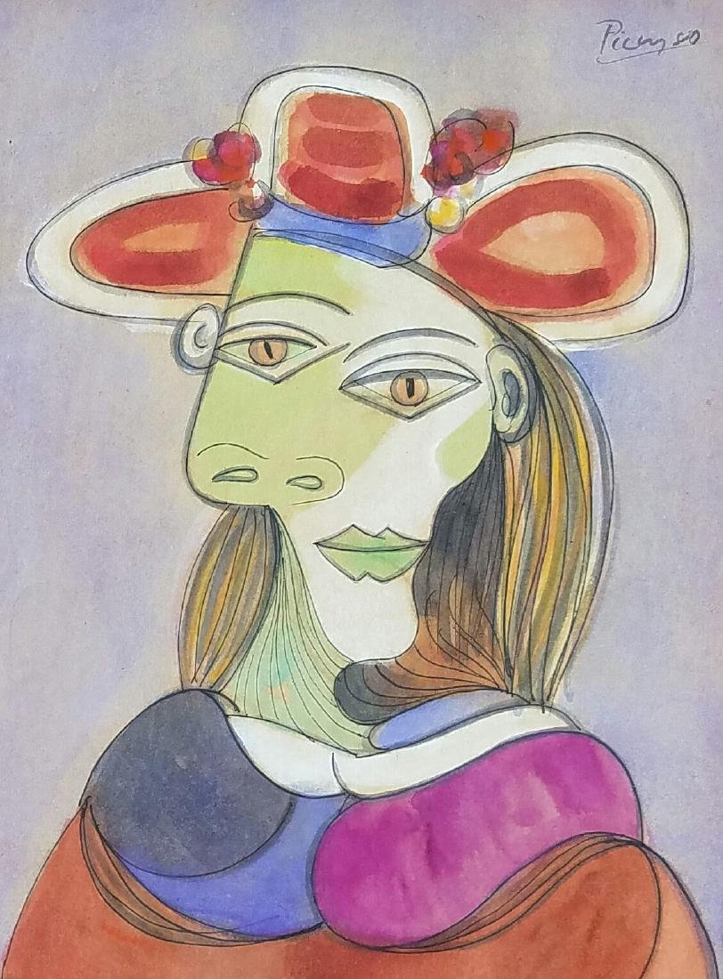 INK AND GUOACHE ON PAPER SIGNED PICASSO