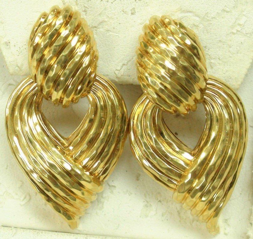 VINTAGE HENRY DUNAY 18K SOLID GOLD EARRINGS