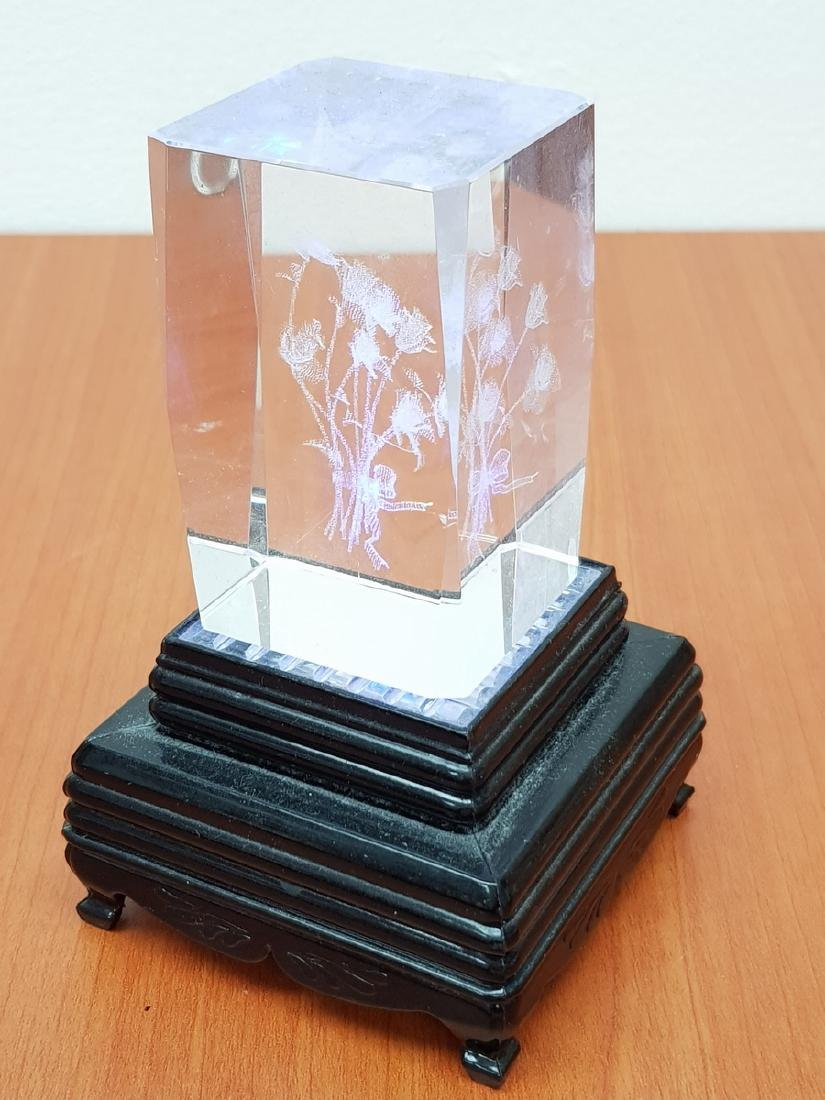 CHINESE DECORATIVE GLASS AND WOOD ITEM