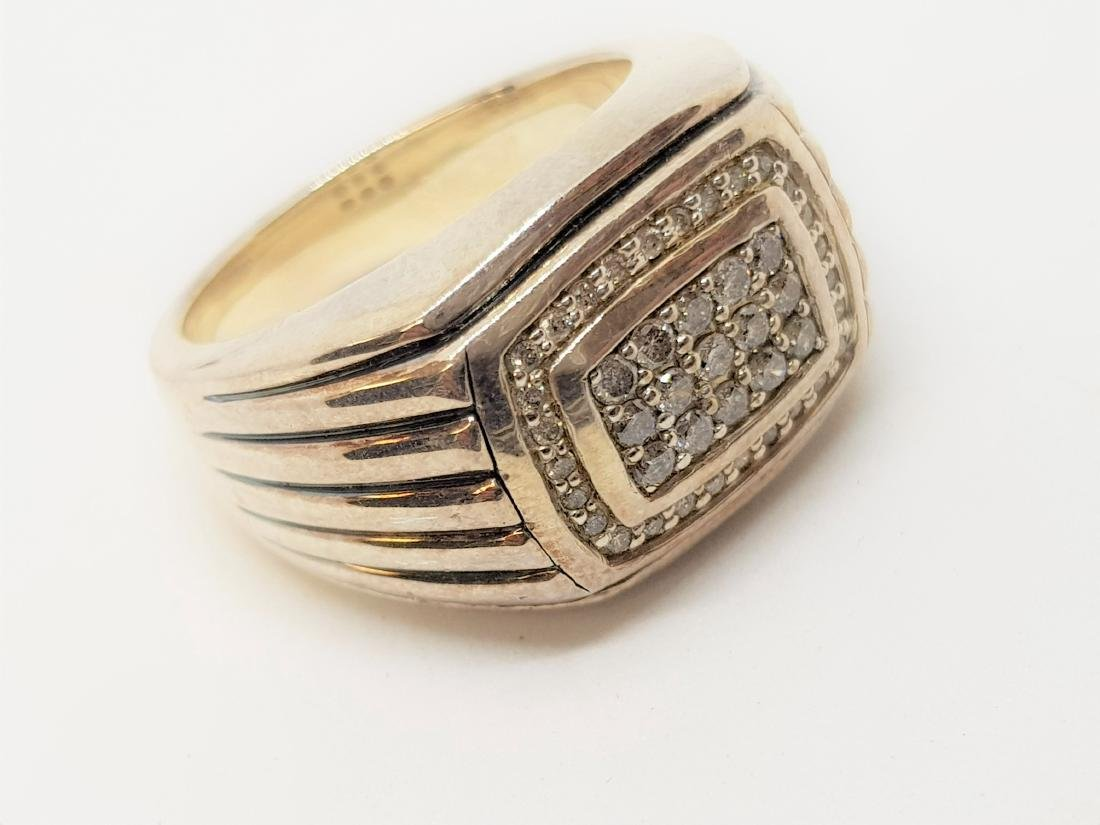 DAVID YURMAN STYLE DIAMOND MENS RING - 2