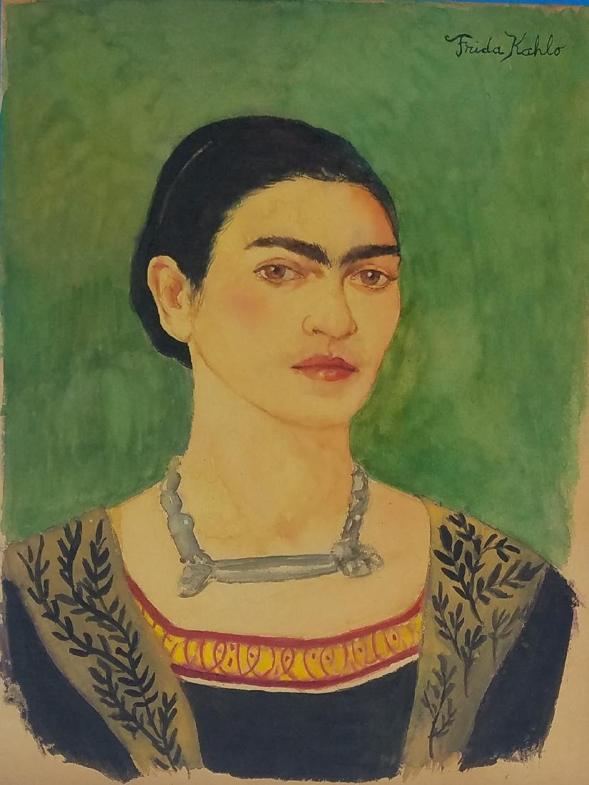 WATERCOLOR ON PAPER SIGNED FRID KAHLO