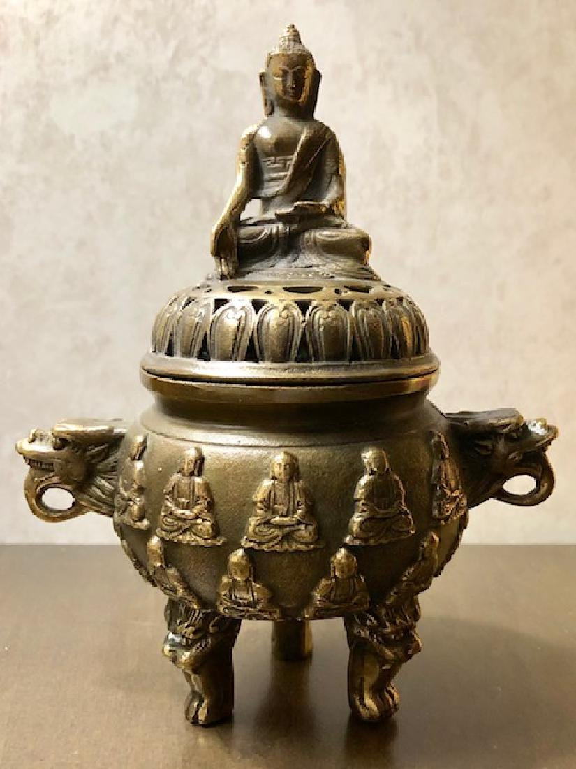 Antique Signed Bronze Chinese Buddha Temple Censor