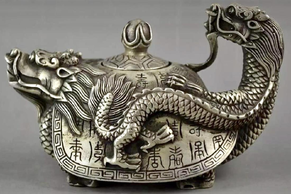 Old Chinese Hallmarked Tibet Silver Dragon Teapot