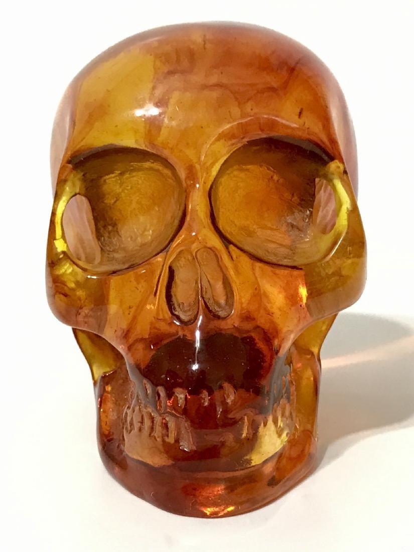 Vintage Ornately Carved Solid Burmese AMBER Skull