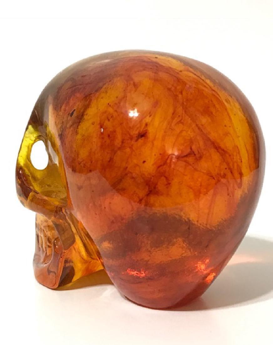 Vintage Ornately Carved Solid Burmese AMBER Skull - 2