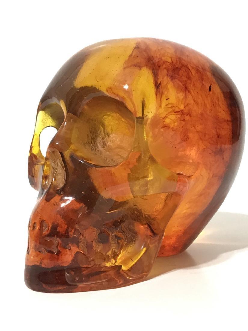 Vintage Ornately Carved Solid Burmese AMBER Skull - 3